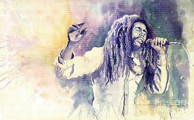 Reggae Painting - Bob Marley by Yuriy  Shevchuk