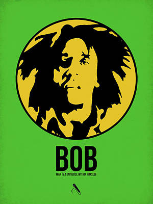 Rasta Digital Art - Bob Poster 3 by Naxart Studio