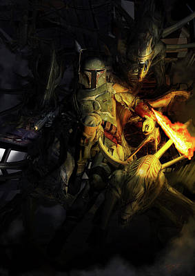 Science Fiction Royalty-Free and Rights-Managed Images - Boba Fett Fighting Off Aliens by Kurt Miller