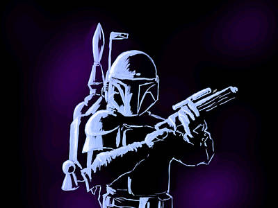 Digital Art - Boba Fett With Purple Haze by George Pedro