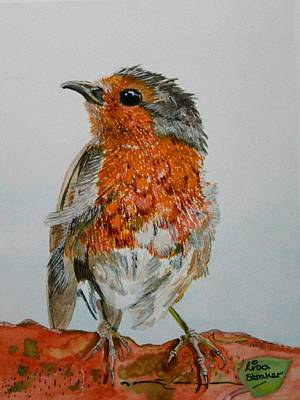 Birds Painting - Bobbin The Robin Painting by Lisa Straker