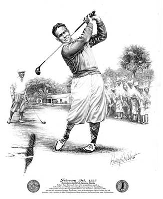 Drawing - Bobby Jones At Sarasota - Black On White by Harry West