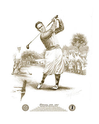 Golf Drawing - Bobby Jones At Sarasota - Sepia by Harry West