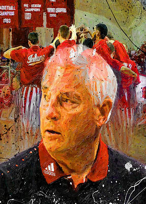 Basketball Painting - Bobby Knight Indiana Legend by John Farr