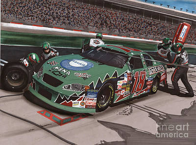 Nascar Drawing - Bobby Labonte Pit Stop by Paul Kuras