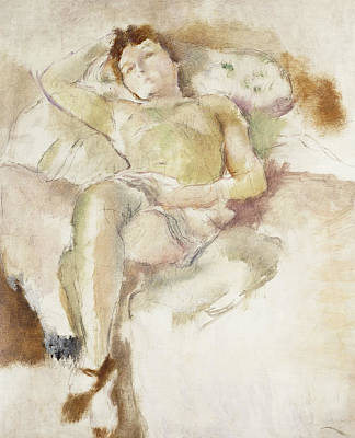 Indoor Painting - Bobette Lying Down Bobette Allongee by Jules Pascin