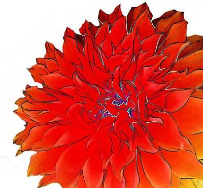 Pyrography Digital Art - Bob's Flower 2 by Cindy Edwards