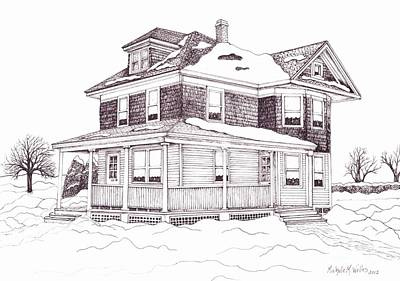 Drawing - Bob's Grandparent's House by Michelle Welles