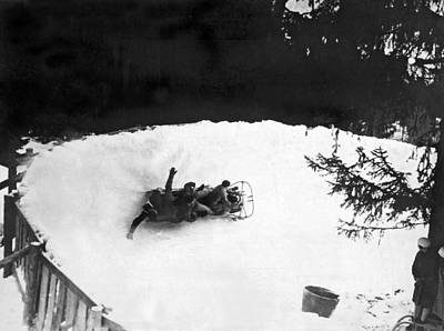 Bobsled Photograph - Bobsled Run In Switzerland by Underwood Archives