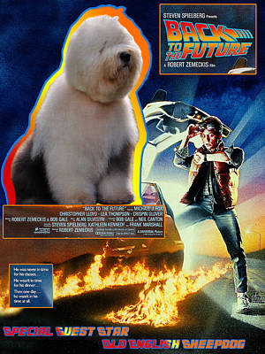 Painting - Bobtail - Old English Sheepdog Art Canvas Print - Back To The Future Movie Poster by Sandra Sij