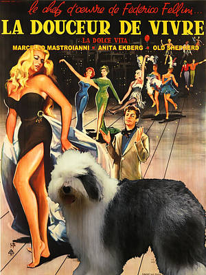 Painting - Bobtail -  Old English Sheepdog Art Canvas Print - La Dolce Vita Movie Poster by Sandra Sij