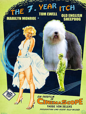 Painting - Bobtail -  Old English Sheepdog Art Canvas Print - The Seven Year Itch Movie Poster by Sandra Sij