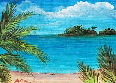 Atc Drawing - Boca Chica Beach by Anastasiya Malakhova