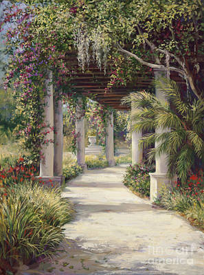 Florida Flowers Painting - Boca Garden Walkway by Laurie Hein