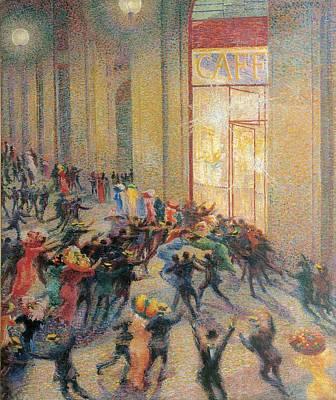 Oil Lamp Photograph - Boccioni Umberto, A Fight by Everett