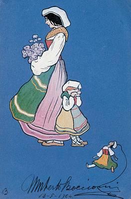 On Paper Photograph - Boccioni Umberto, Woman Of Ciociaria by Everett