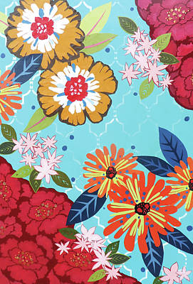 Mixed Media Florals Painting - Bodacious Blooms by Jennifer Peck