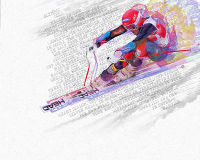 Skiing Action Painting - Bode Miller And Statistics by Tony Rubino