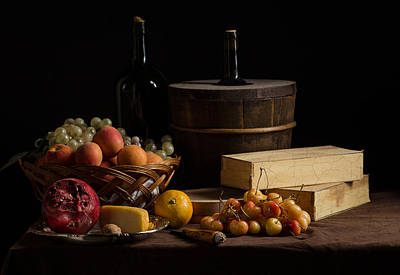 Bodegon With Boxes-cooler-basquet Of Fuits-cheese And Yellow Cherries Art Print