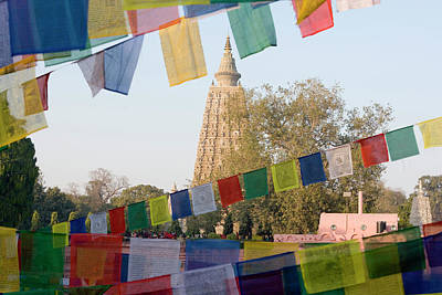 Bodhi Tree Photograph - Bodh Gaya Temple With Prayer Flags by Peter Adams