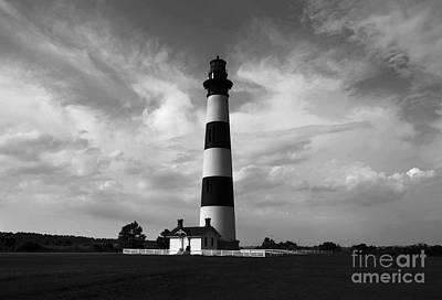 Photograph - Bodie Island Lighthouse Bw by Mel Steinhauer