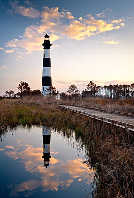 Reflecting Photograph - Bodie Island Lighthouse - Cape Hatteras Outer Banks Nc by Dave Allen