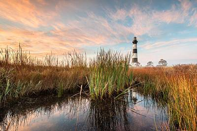 Bodie Island Lighthouse Coastal Marsh Reflections Art Print by Mark VanDyke