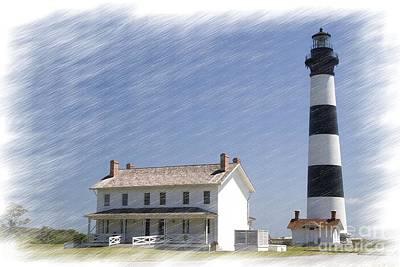 Digital Art - Bodie Island Lighthouse In Chalk by Jill Lang