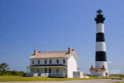 Digital Art - Bodie Island Lighthouse Watercolor by Jill Lang