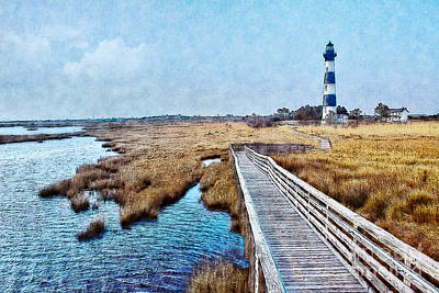 Abstract Beach Landscape Digital Art - Bodie Lighthouse Outer Banks North Carolina II by Dan Carmichael