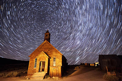 Abandoned Houses Photograph - Bodie Star Trails by Cat Connor