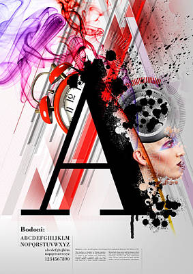 Bodoni A Art Print by Samuel Whitton