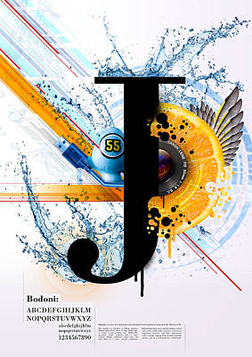 Digital Art - Bodoni J by Samuel Whitton