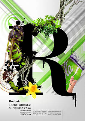 Digital Art Royalty Free Images - Bodoni R Royalty-Free Image by Samuel Whitton