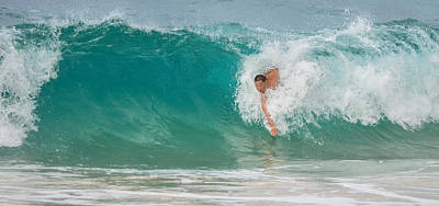 Photograph - Body Surfing At Waimea Beach - Oahu Honolulu by Tin Lung Chao