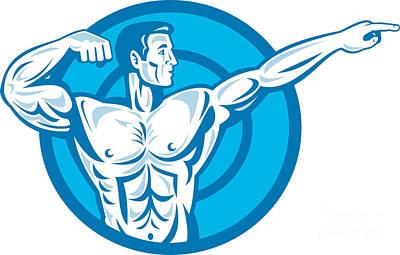 Bodybuilder Flexing Muscles Pointing Side Retro Art Print by Aloysius Patrimonio