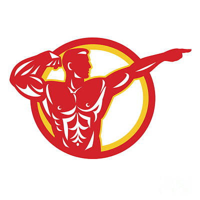 Physical Fitness Digital Art - Bodybuilder Flexing Muscles Retro by Aloysius Patrimonio