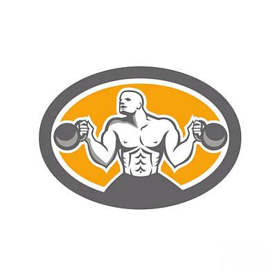 Oval Digital Art - Bodybuilder Lifting Kettlebell Front Oval Retro by Aloysius Patrimonio