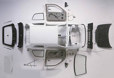 Exploded View Photograph - Bodywork Of A Small Car by Dorling Kindersley/uig