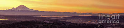 Sunset Photograph - Boeing Seatac And Rainier Sunrise by Mike Reid