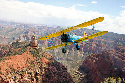 Boeing Stearman At Mount Hayden Grand Canyon Art Print by Gary Eason