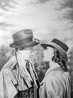Drawing - Bogart - Bergman by Zdzislaw Dudek
