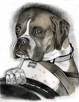 Boxer Mixed Media - Bogart Takes The Wheel by Lori Nadaskay