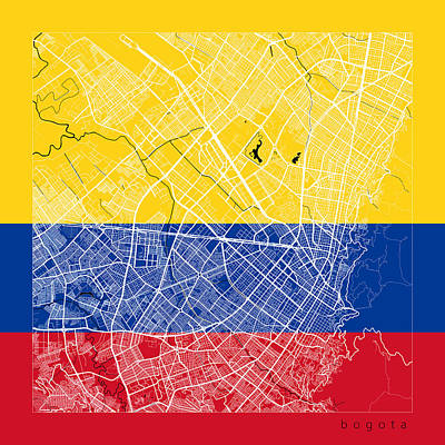 Flag Digital Art - Bogota Street Map - Bogota Colombia Road Map Art On Flag by Jurq Studio