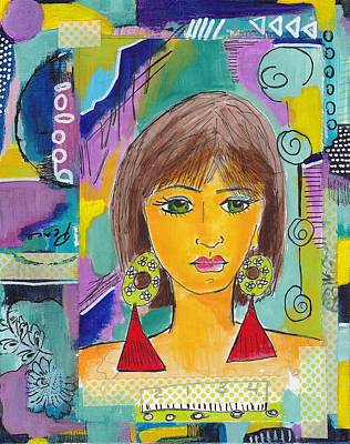 Folk Art Mixed Media - Bohemian Girl by Rosalina Bojadschijew