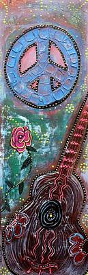 French Signs Mixed Media - Bohemian Peace Guitar by Laura Barbosa