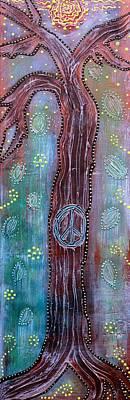 Folkart Mixed Media - Bohemian Peace Tree by Laura Barbosa