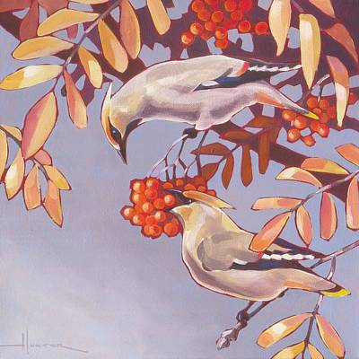 Photograph - Bohemian Waxwings by Larry Hunter