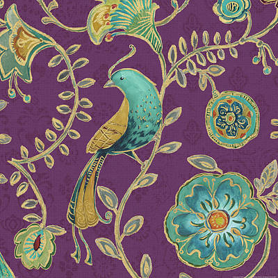 Medallion Painting - Bohemian Wings Viii Aubergine by Daphne Brissonnet