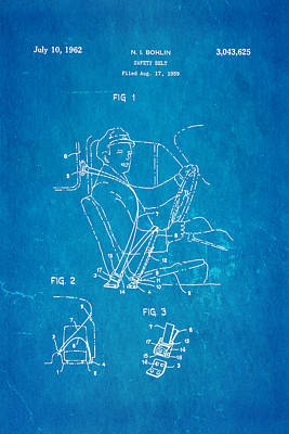 Bohlin Seatbelt Patent Art 1962 Blueprint Art Print by Ian Monk